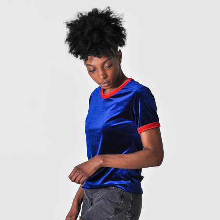 Liana Plush Ringer Tee - Royal Blue