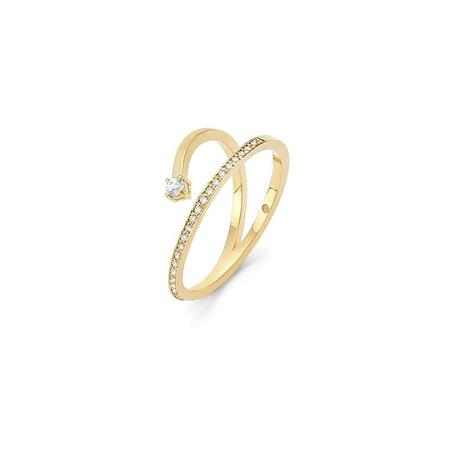 Wasson Fine 14k Gold Pave Diamond Ring with White Sapphire