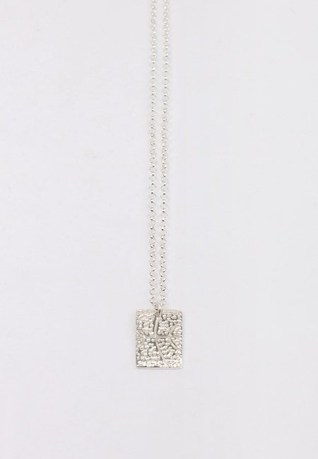 27mollys Square Dot BBall Pendant Necklace - silver