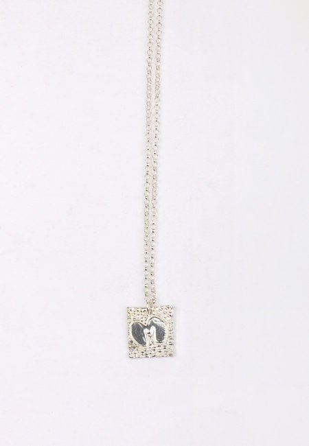27 Mollys XX M Square Pendant Necklace - silver