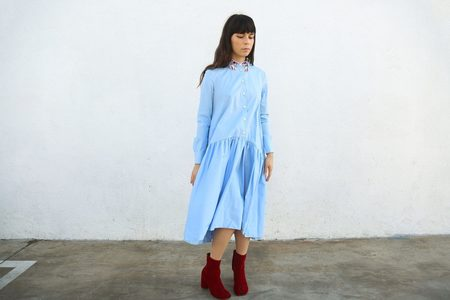 Vivetta Baghdad Long Sleeve Macrame Wide Collar Dress - Blue