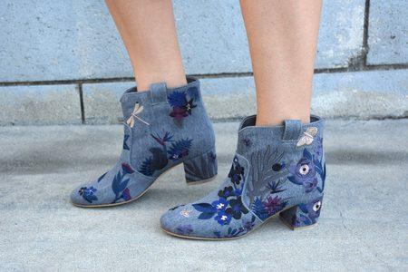Laurence Dacade Belen Denim Tropicale Boot - Stone/Blue