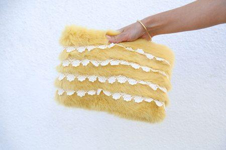 Shrimps Bob Faux Fur Clutch with Crochet Stripes - Lemon