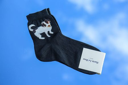 Maria La Rosa Dog Silk Short Sock - Grey