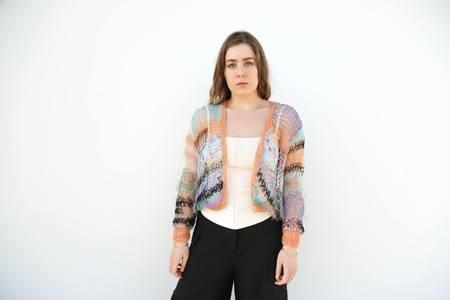 Rodarte Loose Hand Knit Long Sleeve Cardigan - Tangerine/Lavender/Aqua