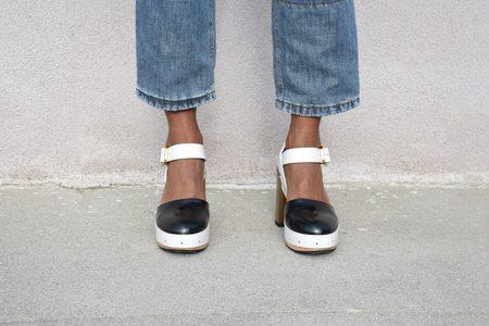 Marni Mary Jane Sandal - Black/Stone White