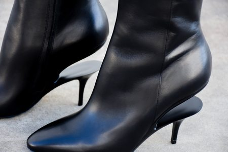 maison margiela Smooth Leather Illusion Ankle Boot - Black