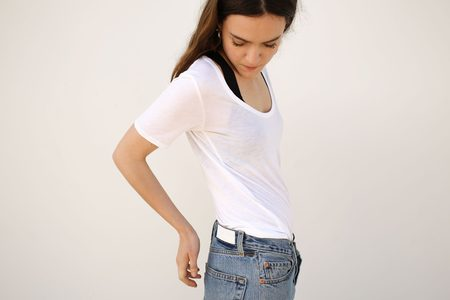 Top Expert Viscose Scoop Neck Tee - White