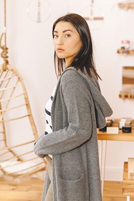 Jenni Kayne Waffle Hooded Sweater Coat - Dark Grey