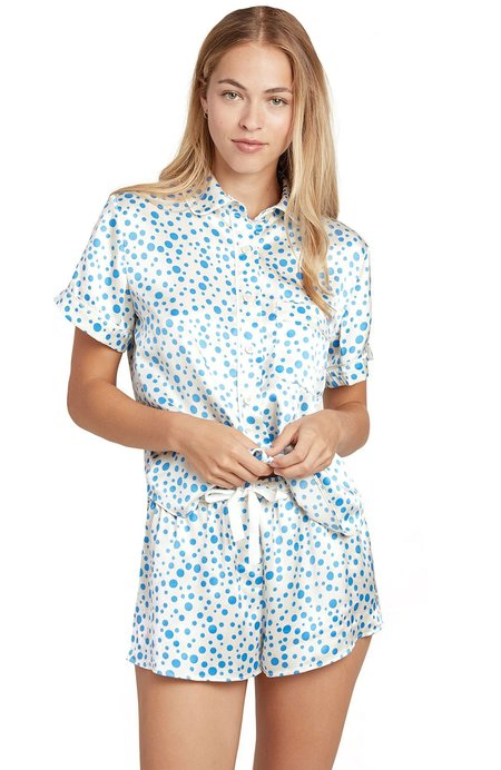 Morgan Lane Martine Silk Bubble Dot Pajama Shorts