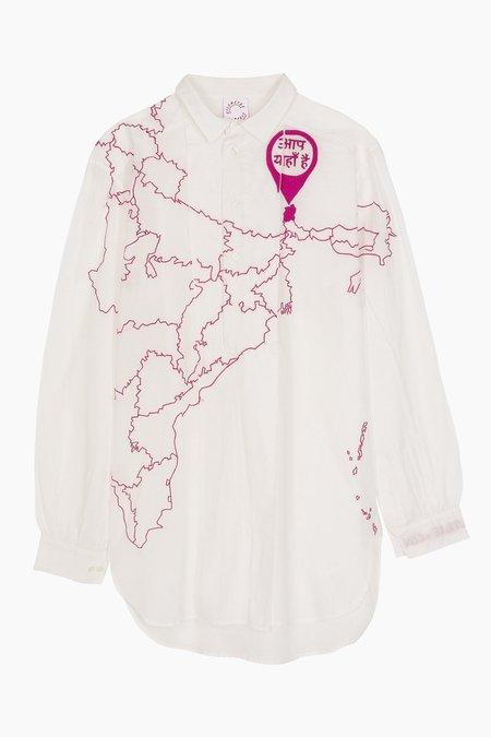 KILOMETRE Paris Sikkim India Shirt Dress - White