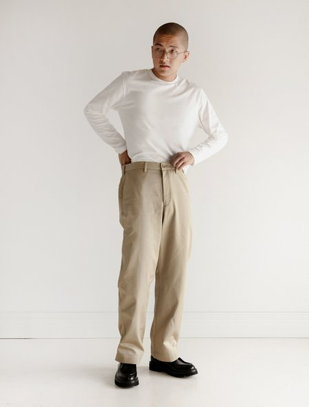 Niuhans Giza Cotton Wide Chino Pants - Beige