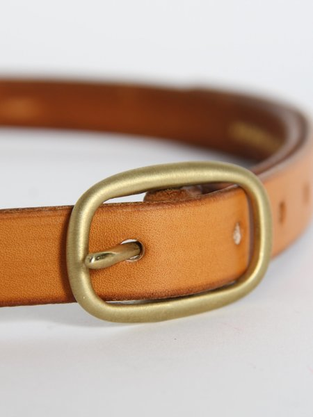 UNISEX Maximum Henry Slim Oval Belt - Light Brown/Brass