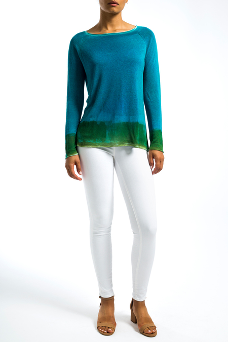 FCashmere handpainted sweater - turquoise