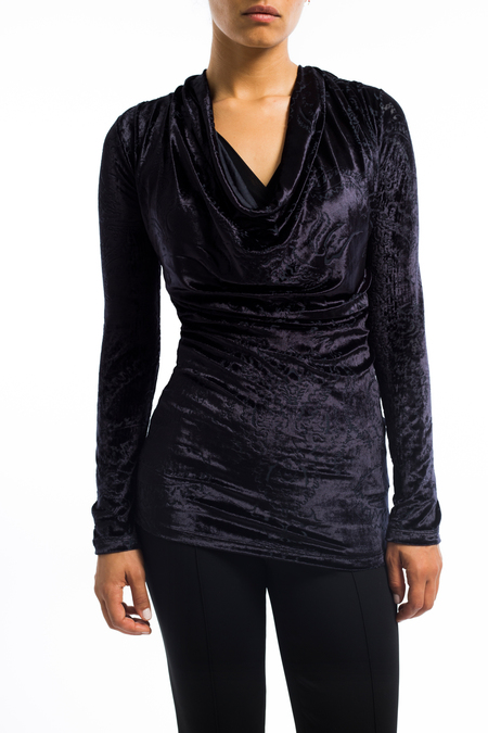 Fuzzi soft velvet cowl neck top - BLACK