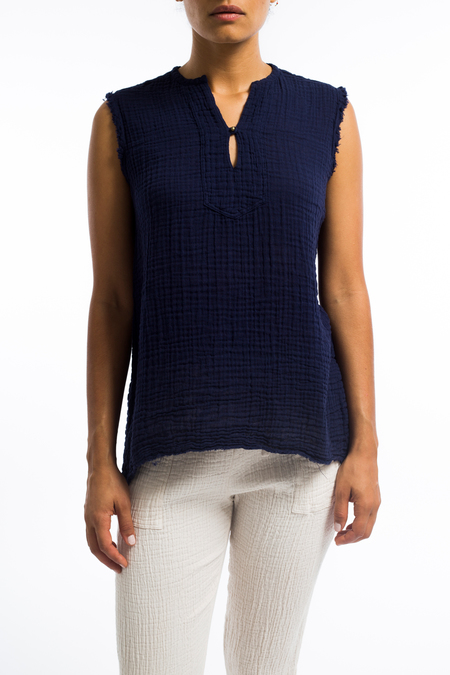 Raquel Allegra sleeveless gauze tunic top - Navy