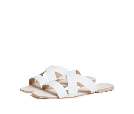The Palatines Shoes thyia elasticized cross band slide sandal - white