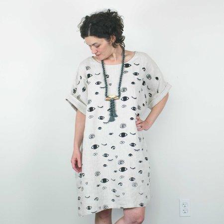 Jenny Lemons Eyes Dress - Natural Linen
