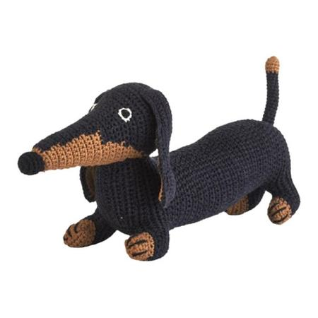 KIDS Anne-Claire Petit Crochet Dachshund Dog Toy - BLUE