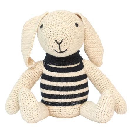 KIDS Anne Claire Petit Crochet Rosa Rabbit Toy - Navy Stripe