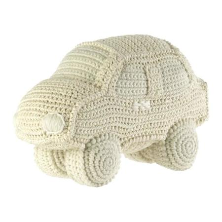 KIDS Anne-Claire Petit Handmade Crochet Car with Bell Inside - White
