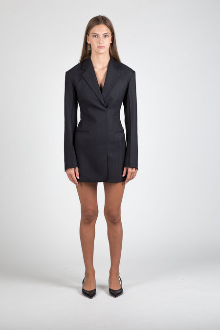 Helmut Lang Herringbone Blazer Dress - Black