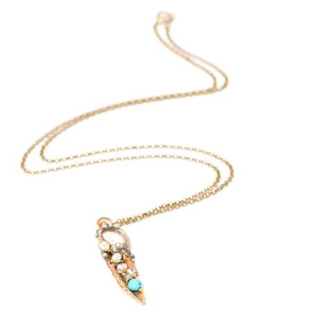 Mikal Winn Brass Feather Necklace