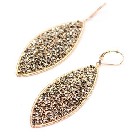 Dana Kellin Black Metal Gold Crystal Long Oval Earrings