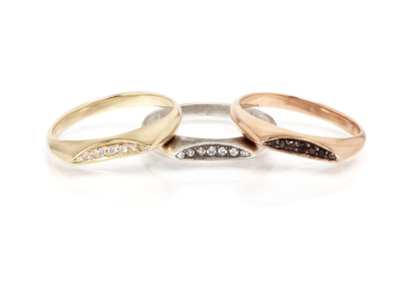 Workhorse INDU Crescent Moon Slice Ring with White Pave Diamonds - 14K Gold