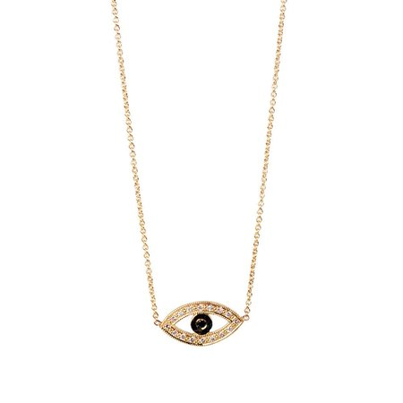 Zoe Chicco 14k Mixed Pave Evil Eye Necklace
