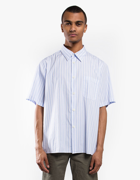 Tres Bien Tourist Shirt Poplin - Big Stripe White Blue