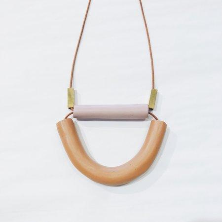 Sonia Gracia Handmade Wide U Necklace w/ Bar - Brown/Lavender