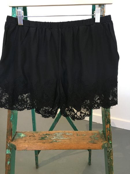 Gold Hawk Silk and Lace Shorts - BLACK
