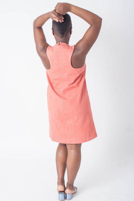 Carleen Diamond Neck Dress (Petite) - Red Denim