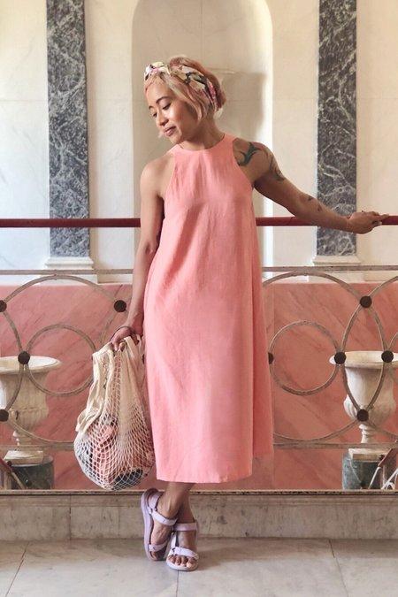 Kaarem Radial V Back Dress - Peach