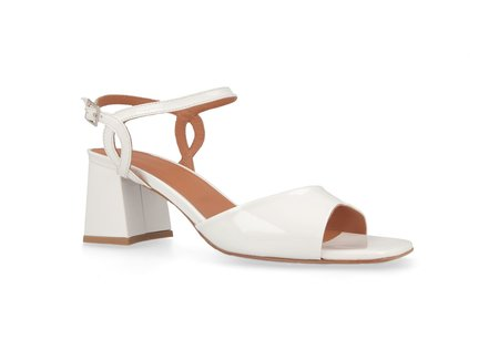 By Far Shoes Alana Patent Leather Heel - White