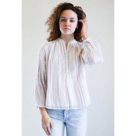 Apiece Apart Papyrus Ruffle Top - White Fez Stripe