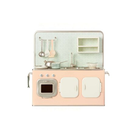 Kids Maileg Metal Kitchen with Utensils - Powder Pink