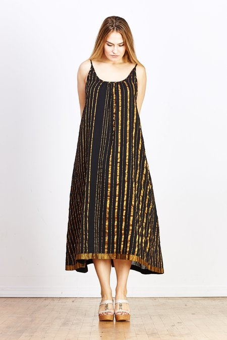 Aish Sultan Slip Dress - Black/Gold Stripe