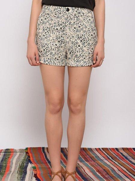 Leon & Harper Queen Paisley Shorts - ECRU/BLACK