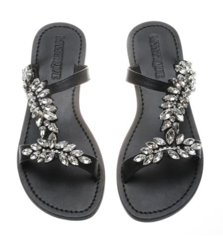 Mystique ADDISON Painted Sole Sandals - Black/Clear