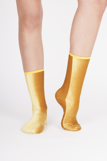 VELVET SOCK'S by SIMONE WILD SET of 2 pairs Ankle Velvet Sock's - MUSTARD YELLOW & OLIVE GREEN