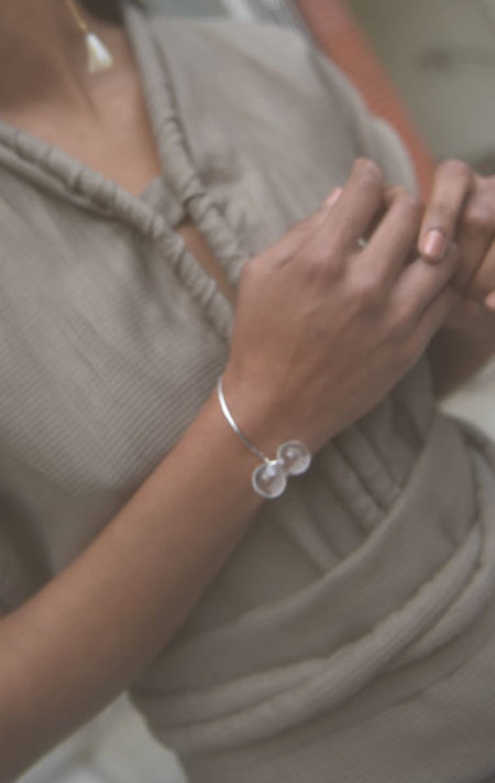 Saskia Diez Belle Bangle - Silver/Crystal