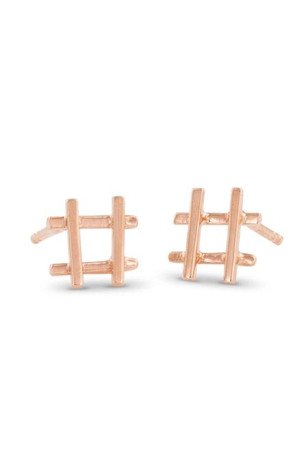 Enji Rose Gold Hashtag Earrings