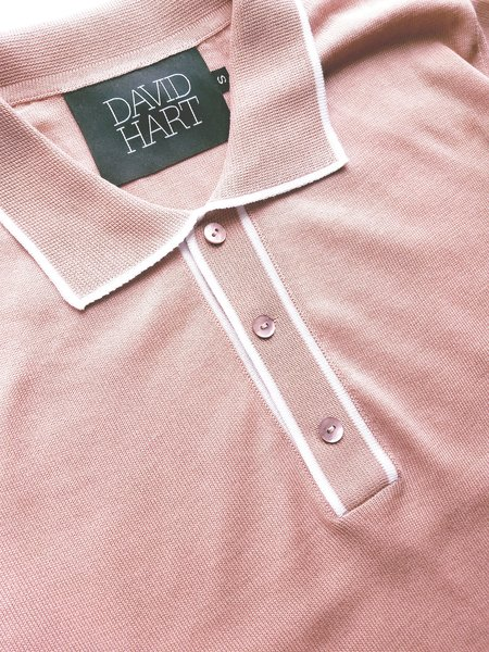 David Hart Tipped Polo Shirt - Pink