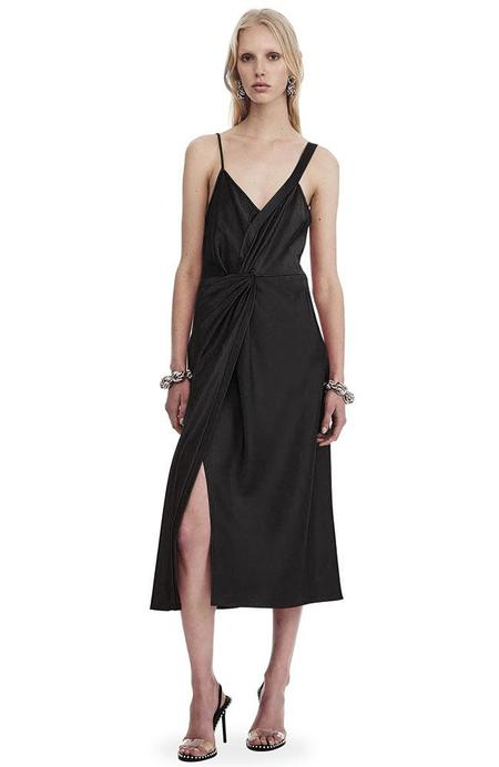 T ALEXANDER WANG Draped Satin Sleeveless Knot Front Dress - BLACK