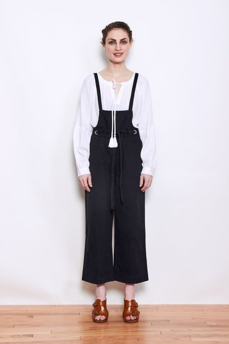 Persons Dottie Paperbag Waist Denim Overalls - Black