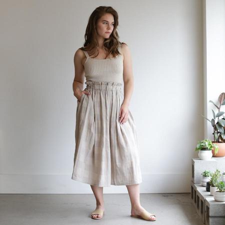 wrk-shp Long Draft Skirt - Stone Check