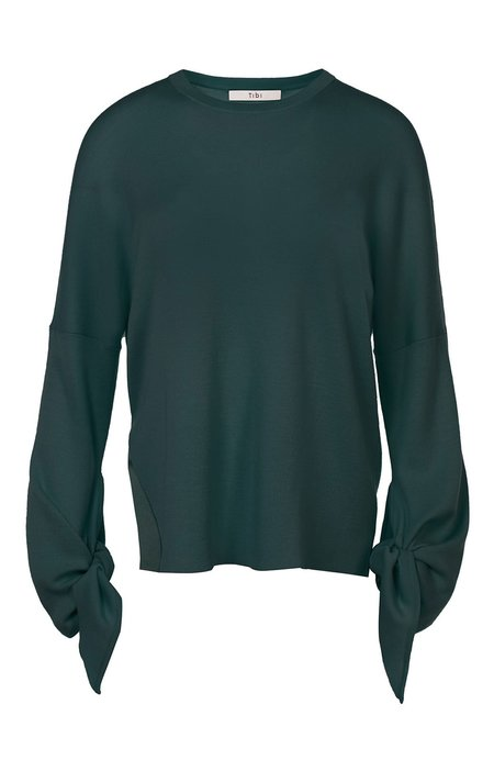 Tibi Tie Sleeve Sweater - Dark Green
