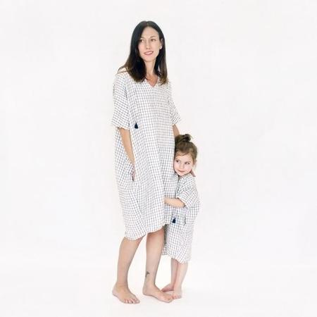 Atsuyo et Akiko Linen Terre Earth Dress - White/Navy Check